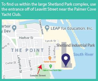 To find us within the large Shetland Park complex, use the entrance off of Leavitt Street near the Palmer Cove Yacht Club.